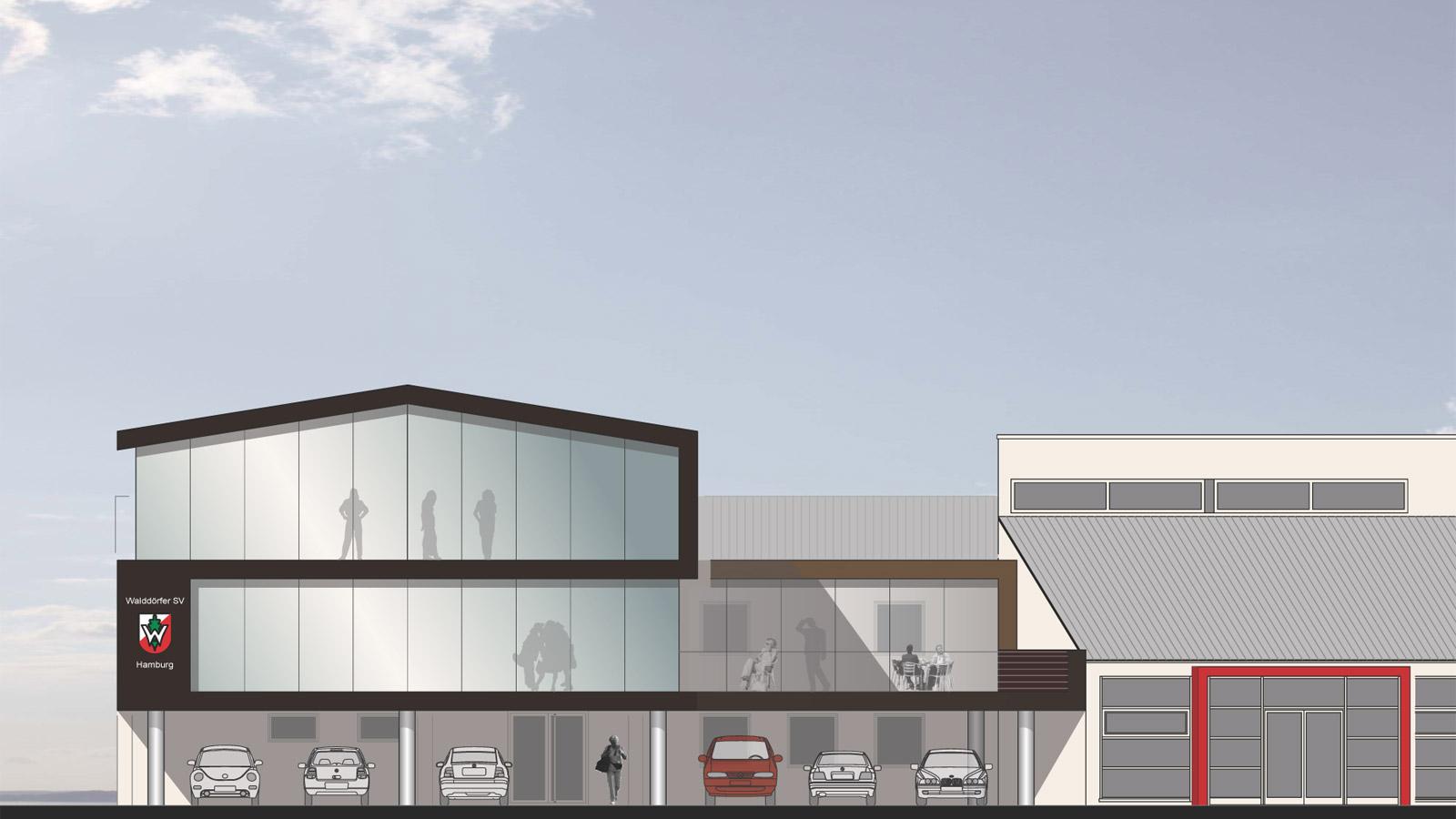 Ansicht Architektur entwurfsgutachten erweiterungsbau walddörfer sportverein